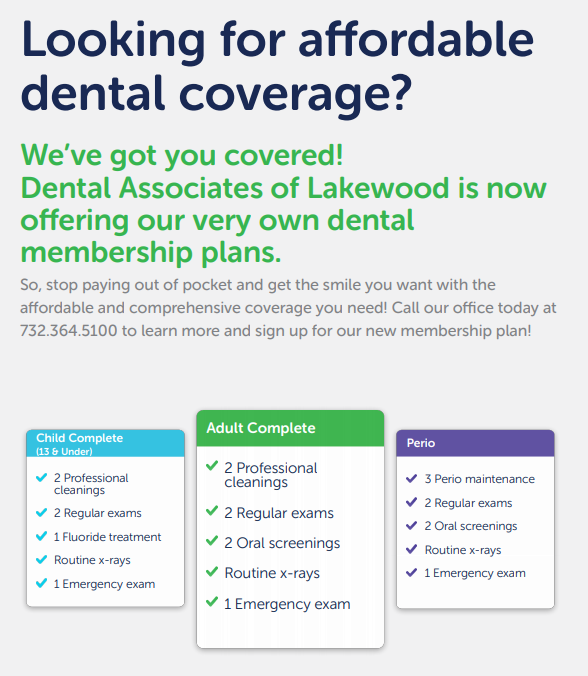 Membership Plans, Dental Associates of Lakewood, Best Dentist, Dentista